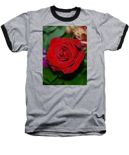 Red Velvet Rose Baseball T-Shirt by Connie Fox