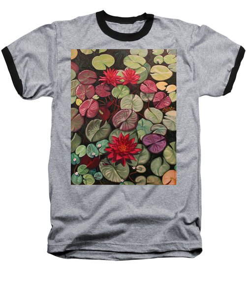 Red Water Lilies Baseball T-Shirt
