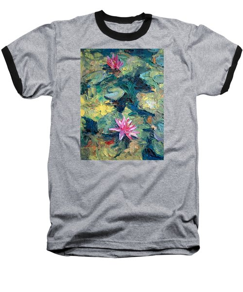 Red Waterlily  Baseball T-Shirt by Jieming Wang