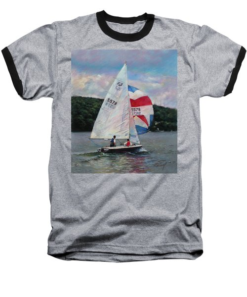 Baseball T-Shirt featuring the drawing Red White And Blue Sailboat by Viola El