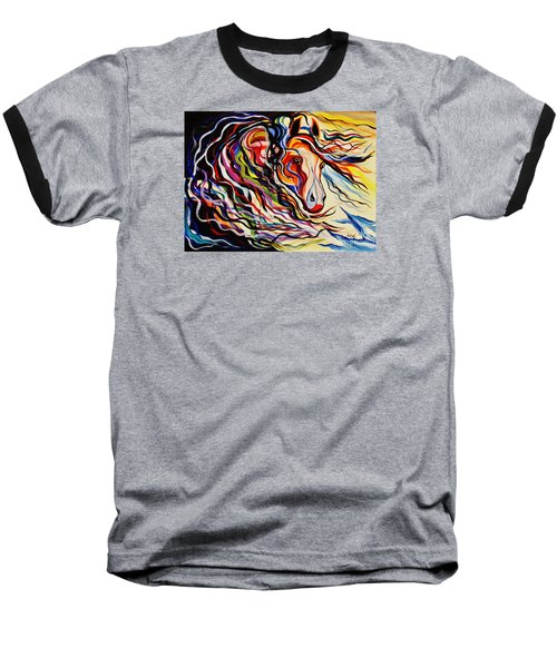 Red Wind Wild Horse Baseball T-Shirt by Janice Rae Pariza