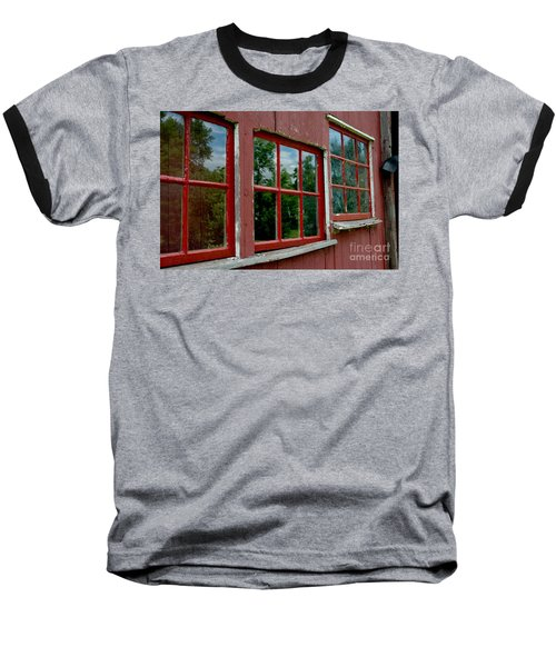 Baseball T-Shirt featuring the photograph Red Windows Paned by Christiane Hellner-OBrien