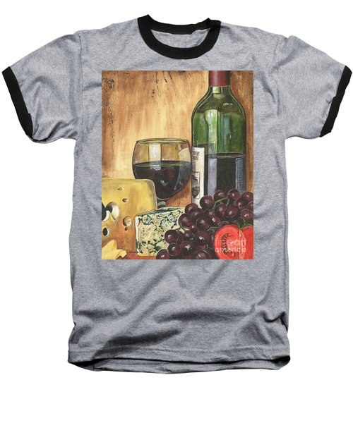 Red Wine And Cheese Baseball T-Shirt by Debbie DeWitt