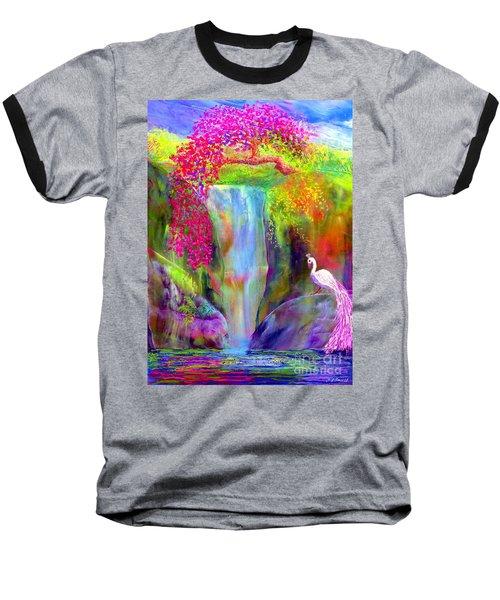Waterfall And White Peacock, Redbud Falls Baseball T-Shirt