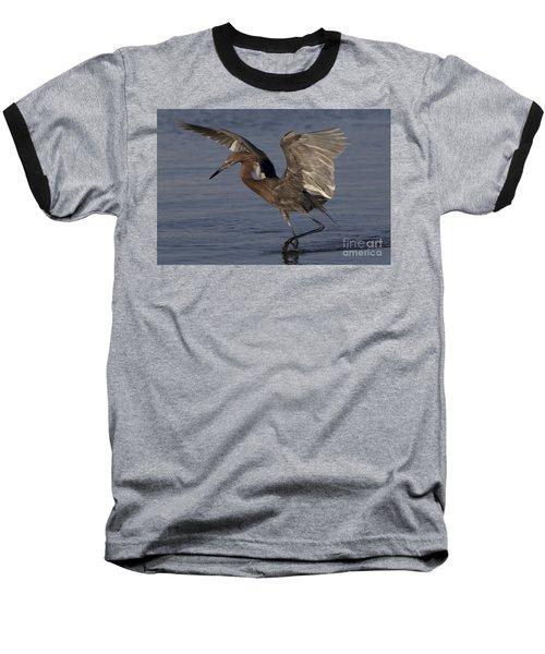 Reddish Egret Fishing Baseball T-Shirt by Meg Rousher