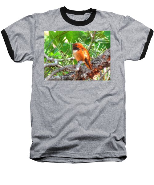 Baseball T-Shirt featuring the photograph Redheaded Hummingbird II by Lanita Williams