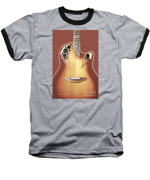 Redish-brown Guitar On Redish-brown Background Baseball T-Shirt