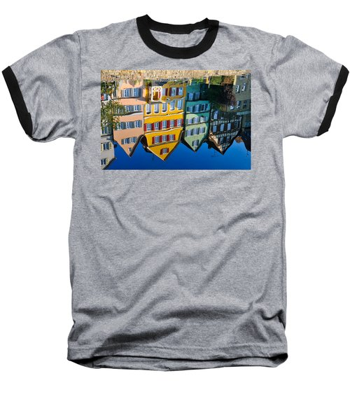 Reflection Of Colorful Houses In Neckar River Tuebingen Germany Baseball T-Shirt