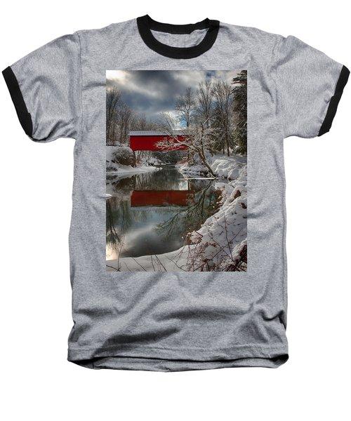 reflection of Slaughterhouse covered bridge Baseball T-Shirt by Jeff Folger