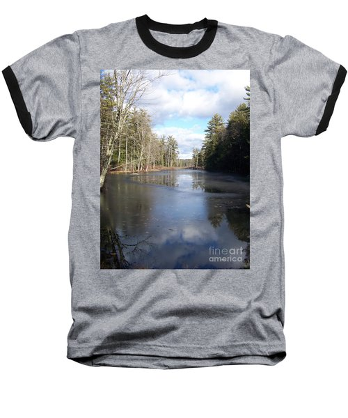 Reflections Caught On Ice At A Pretty Lake In New Hampshire Baseball T-Shirt