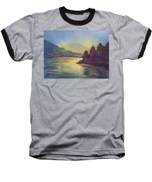 Baseball T-Shirt featuring the painting Reflections On North South Lake by Ellen Levinson