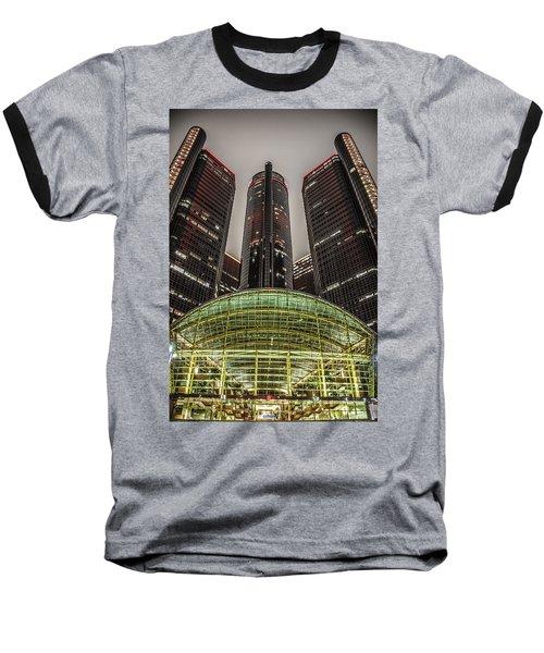 Renaissance Center Detroit Michigan Baseball T-Shirt by Nicholas  Grunas