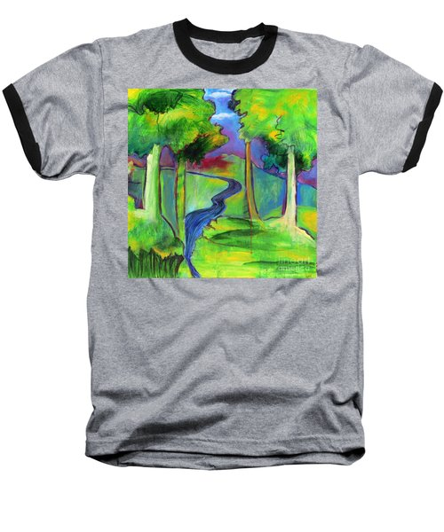 Baseball T-Shirt featuring the painting Rendezvous Triptych by Elizabeth Fontaine-Barr