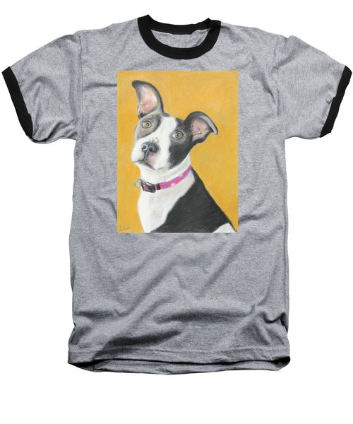 Baseball T-Shirt featuring the painting Rescued Pit Bull by Jeanne Fischer