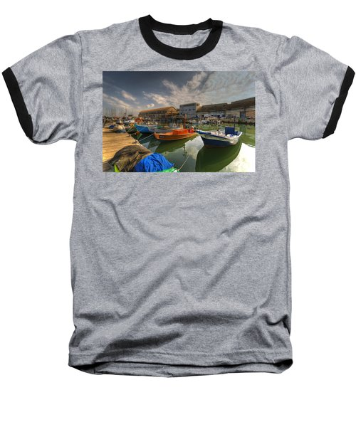 Baseball T-Shirt featuring the photograph resting boats at the Jaffa port by Ron Shoshani