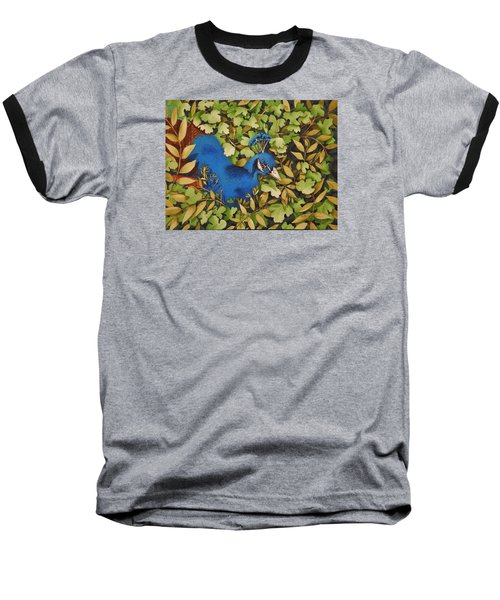 Resting Peacock Baseball T-Shirt by Katherine Young-Beck