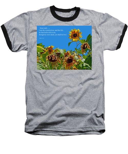 Resurrected Life Baseball T-Shirt by Tikvah's Hope