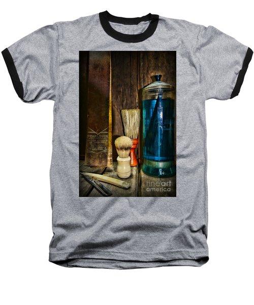 Retro Barber Tools Baseball T-Shirt by Paul Ward