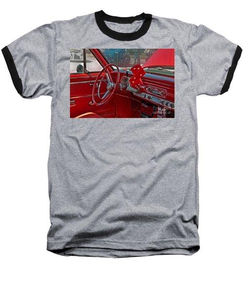 Retro Chevy Car Interior Art Prints Baseball T-Shirt by Valerie Garner