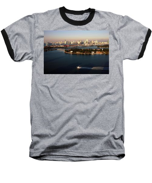 Retro Style Miami Skyline Sunrise And Biscayne Bay Baseball T-Shirt