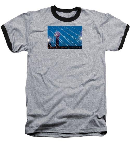 Reunion Tower Baseball T-Shirt by Darryl Dalton