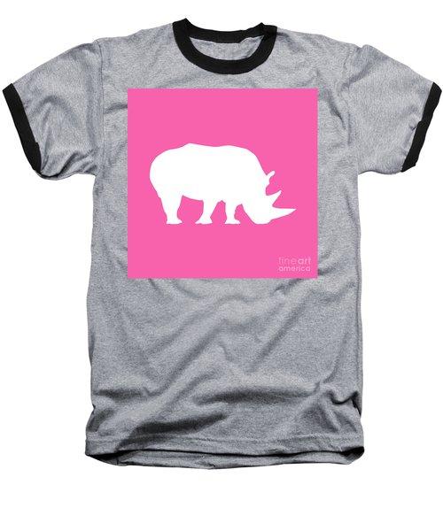 Rhino In Pink And White Baseball T-Shirt