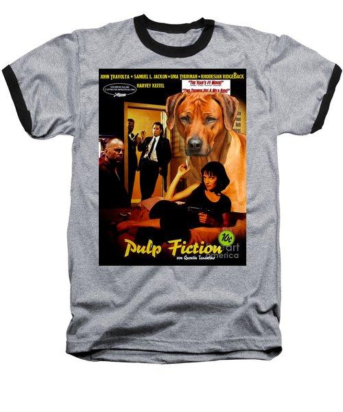 Rhodesian Ridgeback Art Canvas Print - Pulp Fiction Movie Poster Baseball T-Shirt