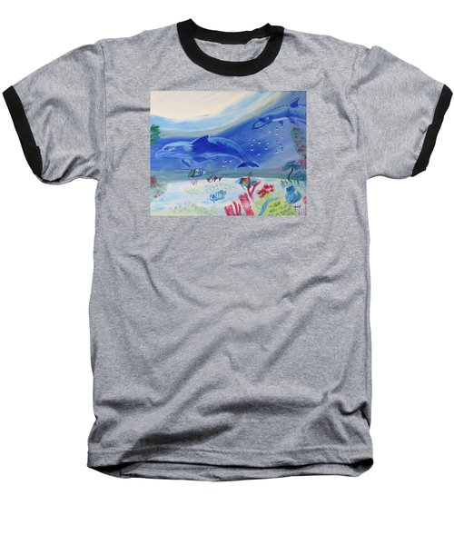 Baseball T-Shirt featuring the painting Rhythm Of The Sea by Meryl Goudey