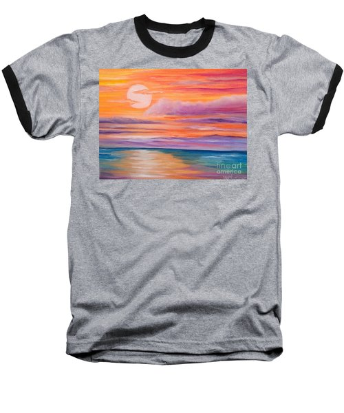 Baseball T-Shirt featuring the painting Ribbons In The Sky by Holly Martinson