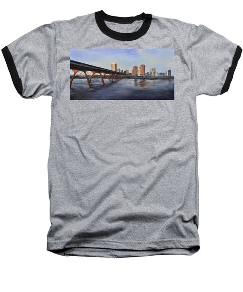 Baseball T-Shirt featuring the painting Richmond Virginia Skyline by Donna Tuten