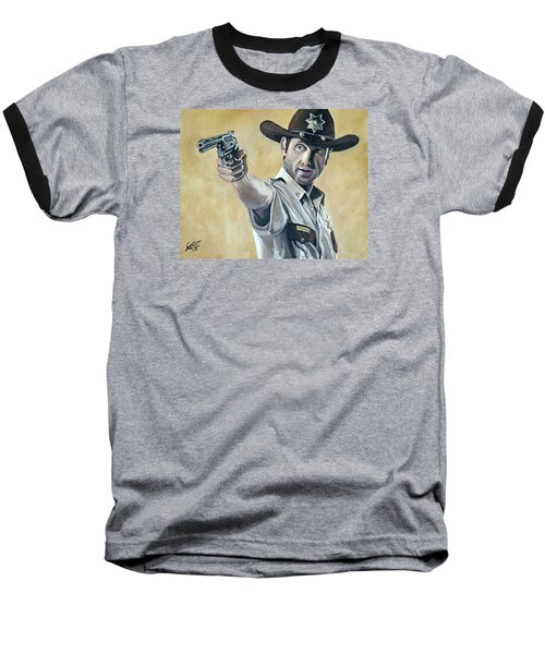 Rick Grimes Baseball T-Shirt by Tom Carlton