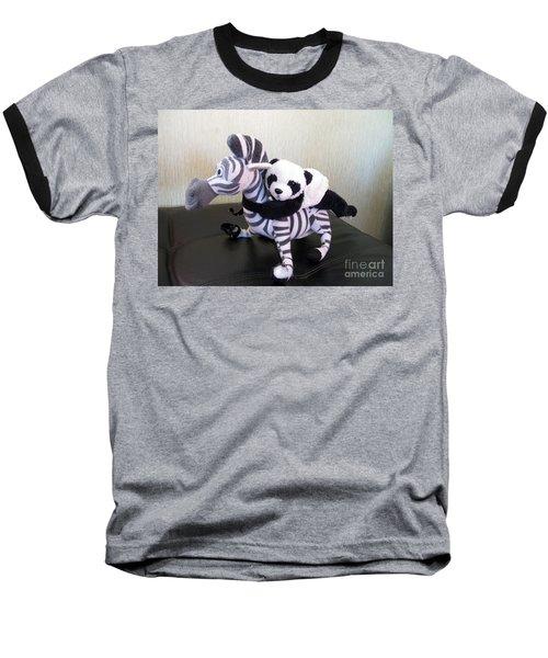 Baseball T-Shirt featuring the photograph Riding A Zebra.traveling Pandas Series by Ausra Huntington nee Paulauskaite