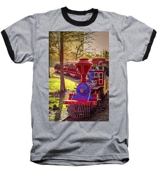 Riding Out Of The Sunset On The Hermann Park Train Baseball T-Shirt