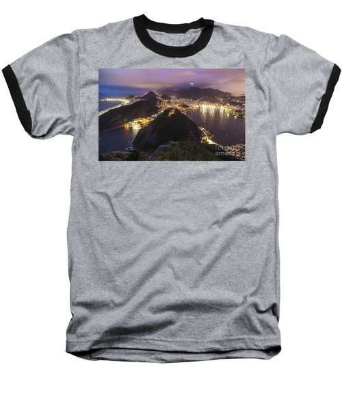 Rio Evening Cityscape Panorama Baseball T-Shirt by Mike Reid