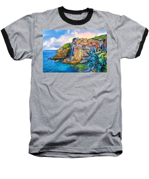 Riomaggiore Morning - Cinque Terre Baseball T-Shirt by Dominic Piperata
