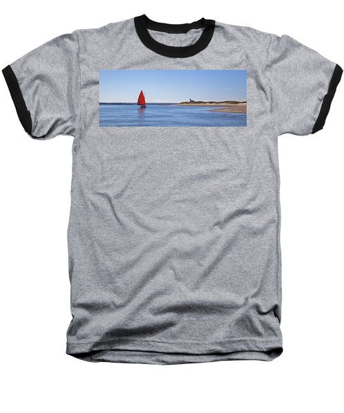 Ripple Catboat With Red Sail And Lighthouse Baseball T-Shirt