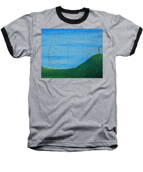 Baseball T-Shirt featuring the painting Ripples Of Life 2 by Tim Mullaney