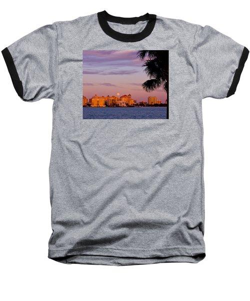 Rising Full Moon Sunset Sarasota Cityscape Baseball T-Shirt