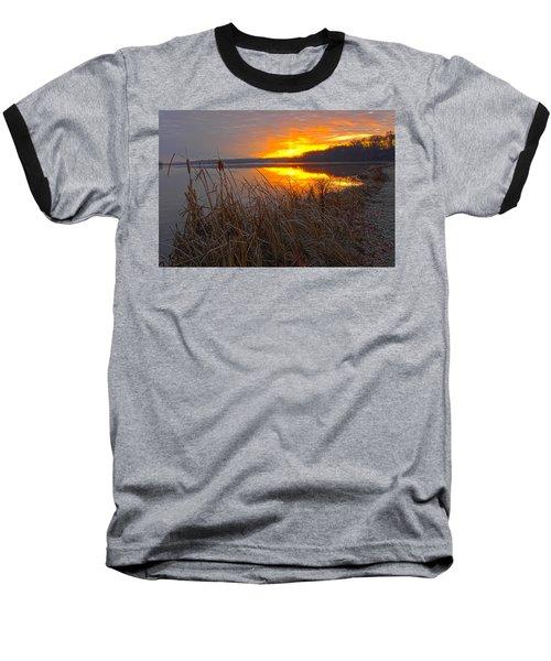 Baseball T-Shirt featuring the photograph Rising Sunlights Up Shore Line Of Cattails by Randall Branham