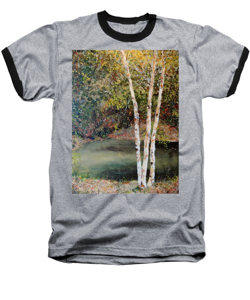 Baseball T-Shirt featuring the painting River Birch by Alan Lakin