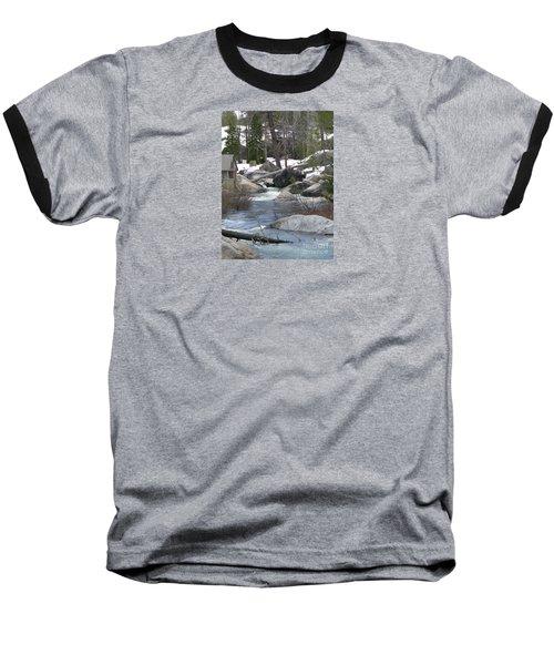 Baseball T-Shirt featuring the photograph River Cabin by Bobbee Rickard