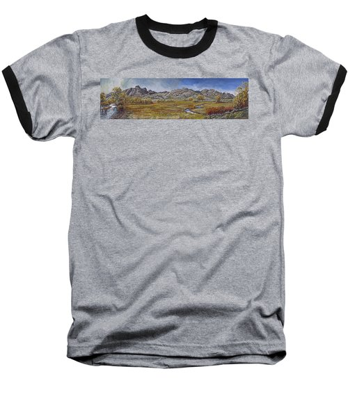 Baseball T-Shirt featuring the painting River Mural Autumn View  by Dawn Senior-Trask
