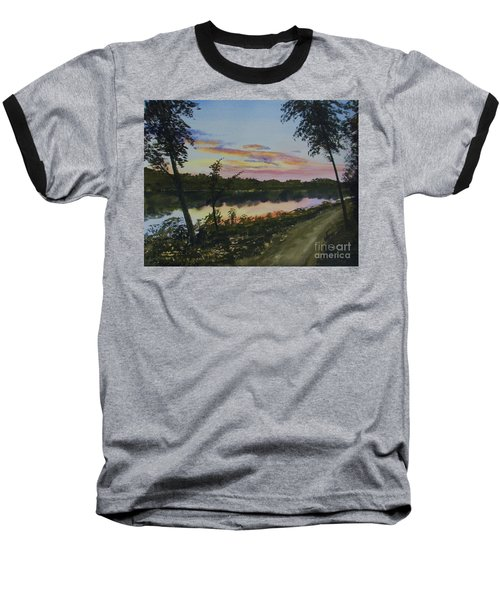 Baseball T-Shirt featuring the painting River Sunset by Martin Howard