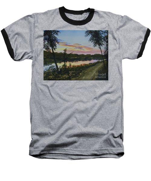 River Sunset Baseball T-Shirt by Martin Howard
