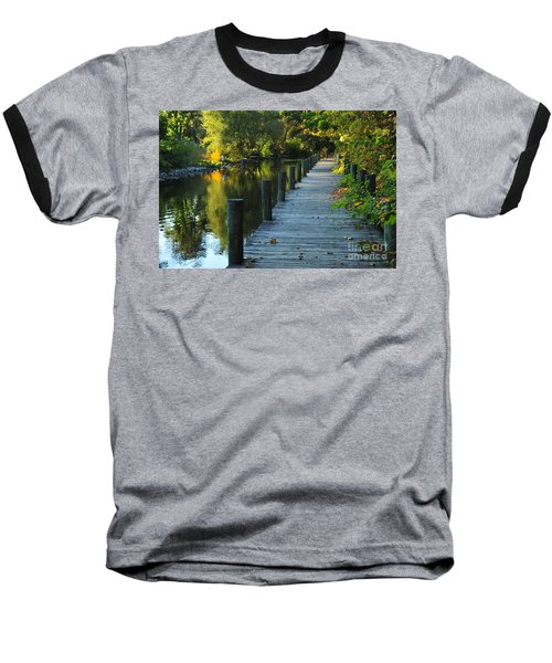 Baseball T-Shirt featuring the photograph River Walk In Traverse City Michigan by Terri Gostola