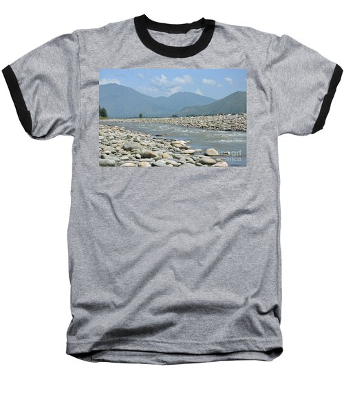 Riverbank Water Rocks Mountains And A Horseman Swat Valley Pakistan Baseball T-Shirt by Imran Ahmed