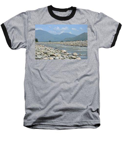 Riverbank Water Rocks Mountains And A Horseman Swat Valley Pakistan Baseball T-Shirt