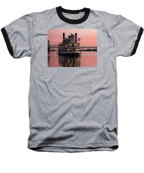 Baseball T-Shirt featuring the photograph Riverboat At Sunset by Cynthia Guinn