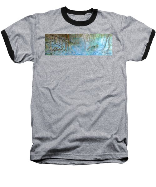 Baseball T-Shirt featuring the painting River's Stories  by Delona Seserman