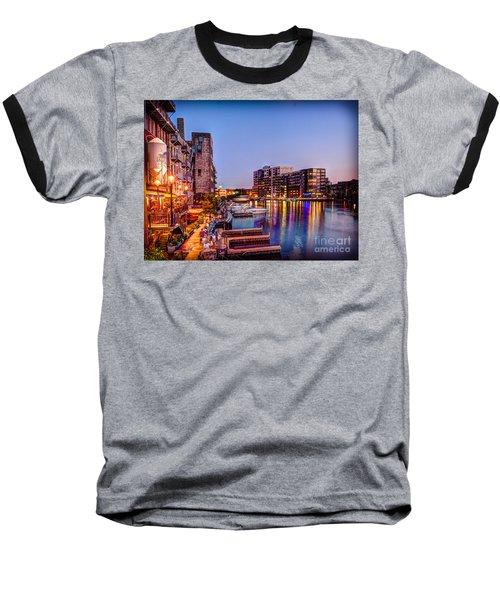 Riverwalk At Dusk Baseball T-Shirt